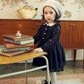 2016 primavera llena Lce princesa muchacha del niño manga larga da vuelta abajo negro blanco A-Line hasta la rodilla Kids Dress 2-8Y