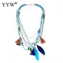 Bohemian Multi Color Feather Necklaces Beads Tassel Maxi Long Ethnic Chain Jewelry Statement Necklace For Women Collare joolim high quality long simulated pearl tassel maxi necklace multi layered necklace statement jewelry wholesale