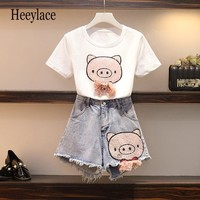 5xl plus size two piece sets Summer shorts set for women kawaii crop top pink sequin pig set big size birthday outfits