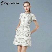 Brand SOPAKA High Quality Original Designer Short Sleeve White Fashion Summer Midi Women Dress