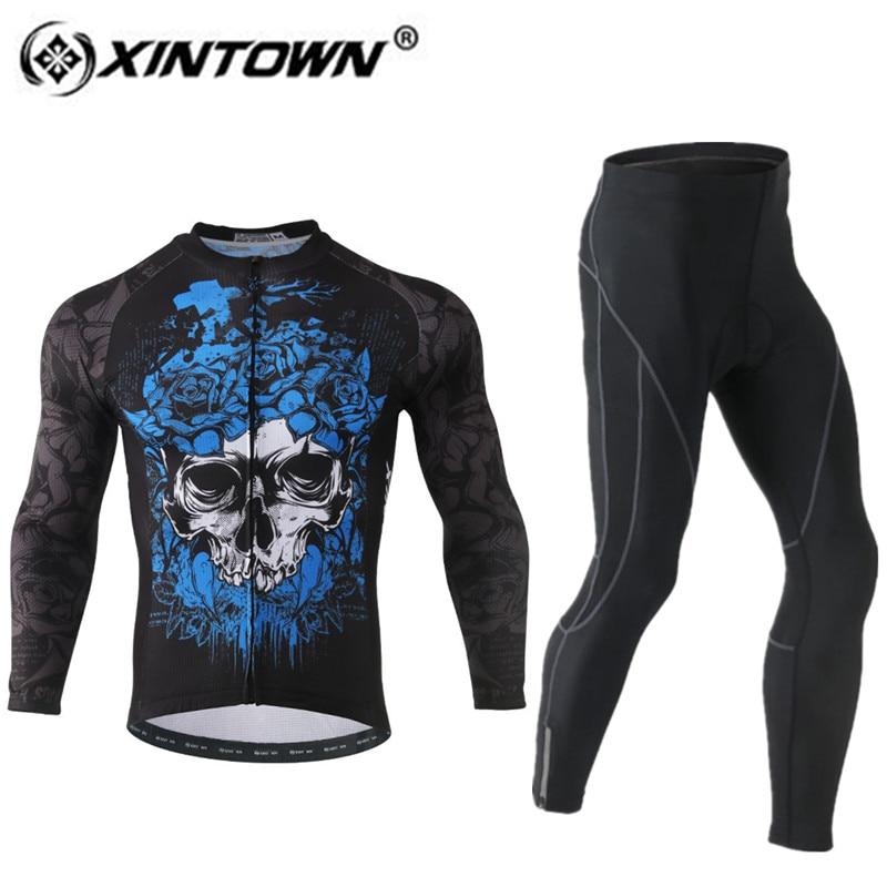 XINTOWN Cycling Jersey Set Long Sleeve and Pants 3D Pad Pro Men Anti-sweat Skeleton Cool Ciclismo Bike Suit Bicicleta Outdoor