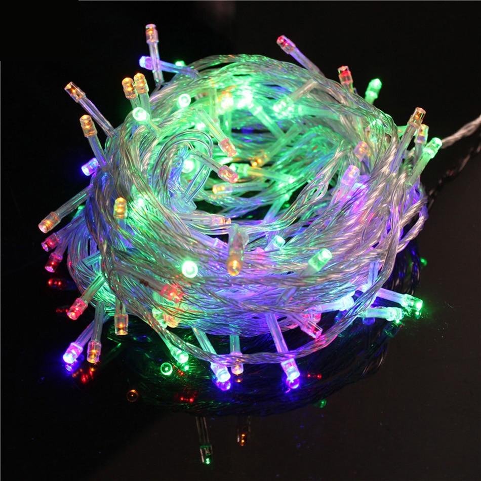 HA CONDOTTO LA Luce Della Stringa di 10 m Impermeabile 110 v/220 v 100 LED di Vacanza Stringa di Illuminazione 9 Colori Luci Di Natale partito Decorazione Esterna
