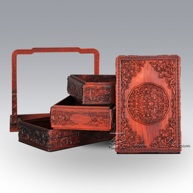 Chinese Classical Food Carrier Rosewood Carven Hand Baskets Red Solid Wood Kitchenware bloodwood Redwood Carving Crafts Annatto