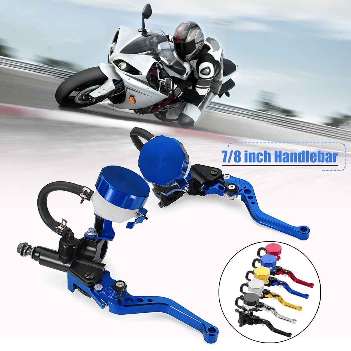 7 8 CNC Motorcycle Handlebar Hydraulic Brake Clutch Cylinder Lever Reservoir