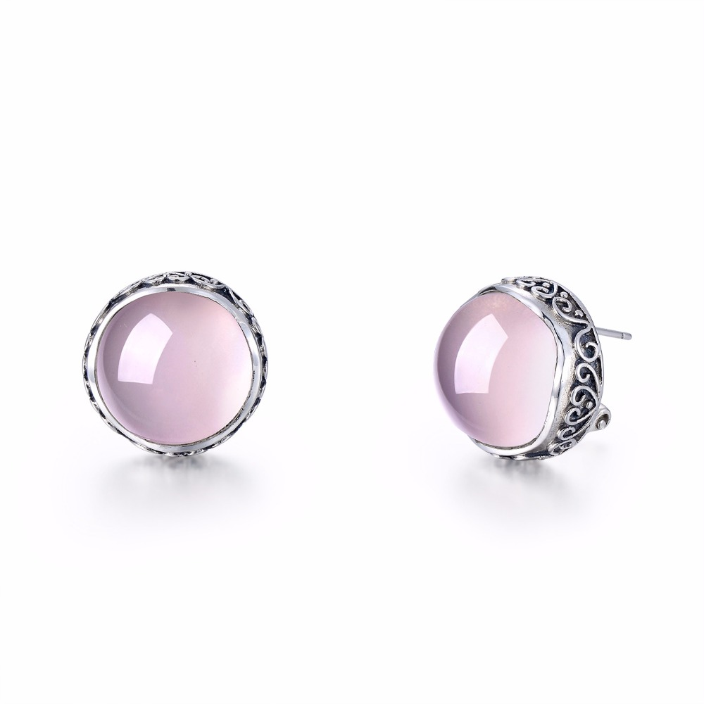 Natural Rose Quartz 100% Authentic 925 Sterling Silver Earrings For Women Vintage Carved Special Style Earrings Fine Jewelry summer special style 100