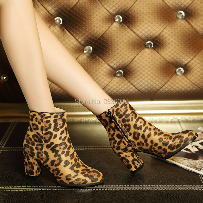 617b93597a89 2018 Horsehair Suede Leather Leopard Ankle Boots Brown Thick Chunky Heel  Sexy High Heels Flock Zip Booties Ladies Spring Shoes-in Ankle Boots from  Shoes on ...