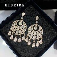 הגעה חדשה HIBRIDE AAA מעוקב Zirconia Brincos אופנה צבע זהב גדול התליון Drop עגיל לנשים מחיר סיטונאי E-657