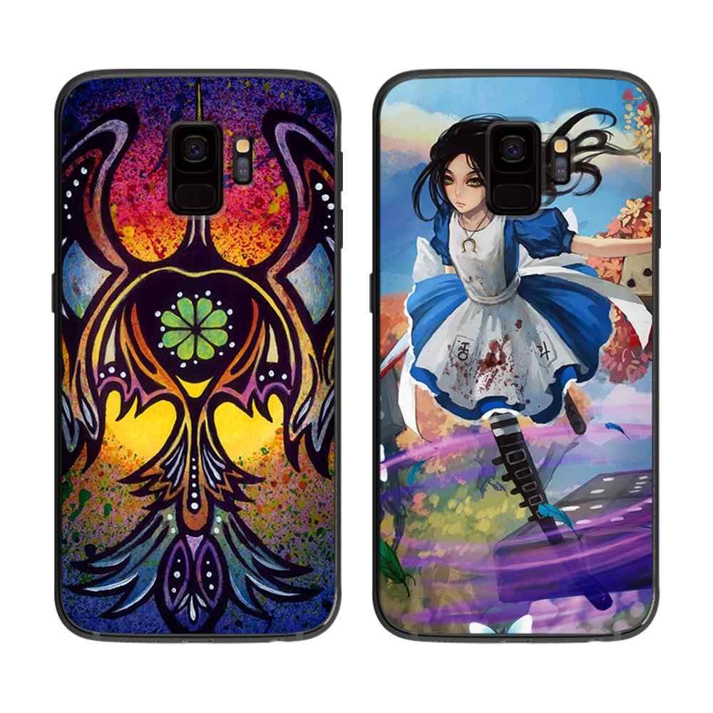 アメリカのアートソフト電話カバーケース三星銀河 S6 S7 S8 S9 S10e プラス注 8 9 黒シリコーンケース s