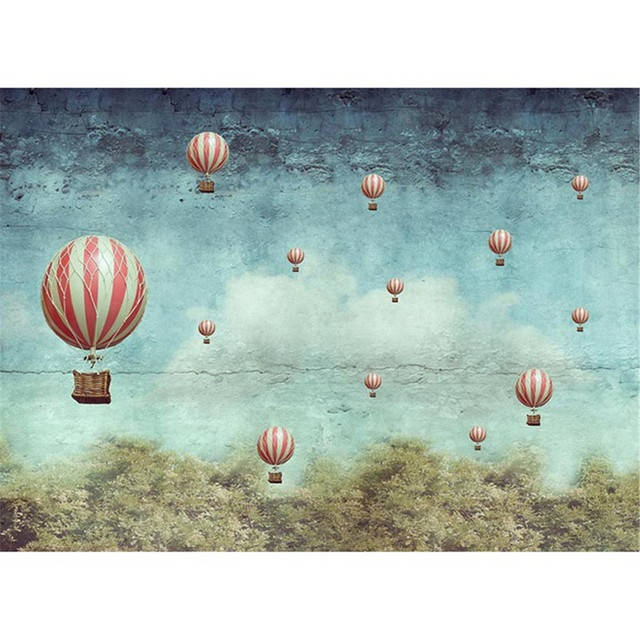 Vintage Blue Sky Hot Air Balloons Backdrop For Photography Printed