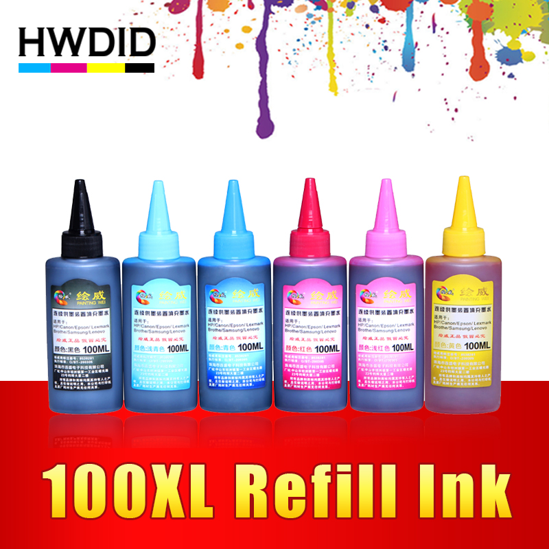 100ML Universal Ink Dye Ink 6 Color Compatible Refill Ink For HP For CANON For EPSON