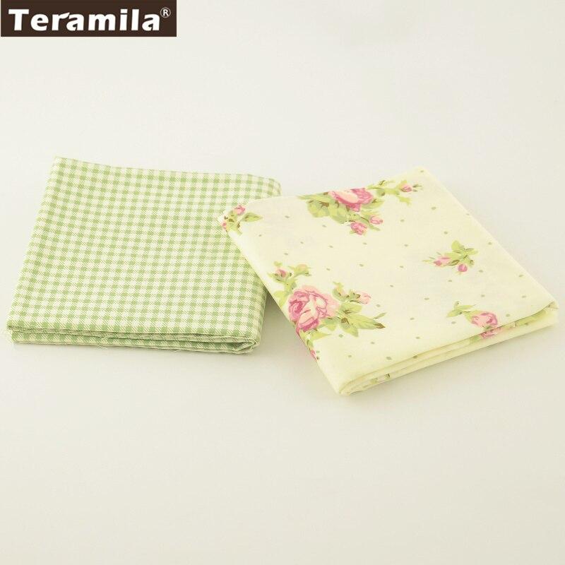 2 unids/lote teramila ropa verde de la flor de tela de sarga de algodón 100% dis