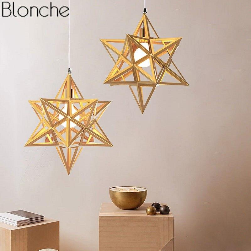 Nordic современного изобразительного искусства светодиодный звезды подвесные светильники Лофт столовая в промышленном стиле комнаты Спальн