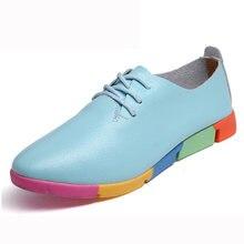 2018 new breathable genuine leather flats shoes woman sneakers tenis feminino nurse peas flats shoes plus size women shoes
