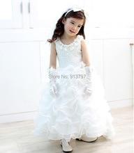 Розничная 2015 новая девушка свадебные платья пачка слоистых завершающий платье цветочница 4-12Y 1230