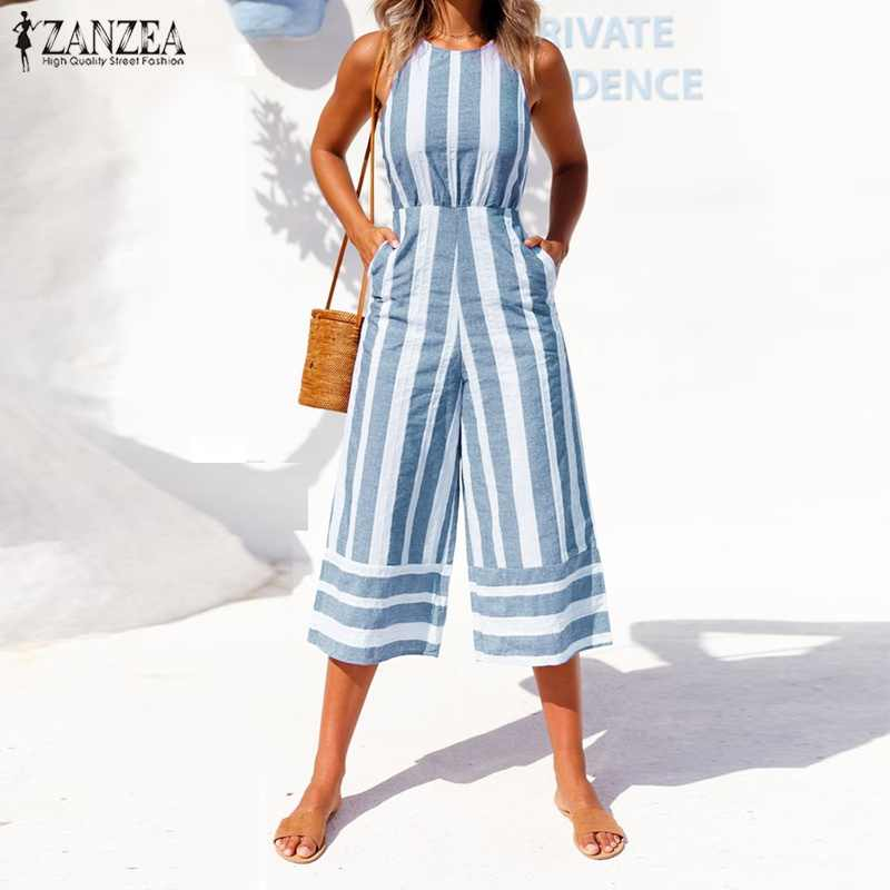 0b40914d78 ZANZEA 2018 Oversized Summer Pants Women Jumpsuit Sleeveless Palazzo  Bodysuit Hollow Striped Rompers Wide Leg Overalls