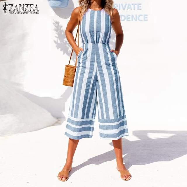 afd91fb3db7 Online Shop ZANZEA 2019 Oversized Summer Pants Women Jumpsuit Sleeveless  Palazzo Bodysuit Hollow Striped Rompers Wide Leg Overalls Playsuit