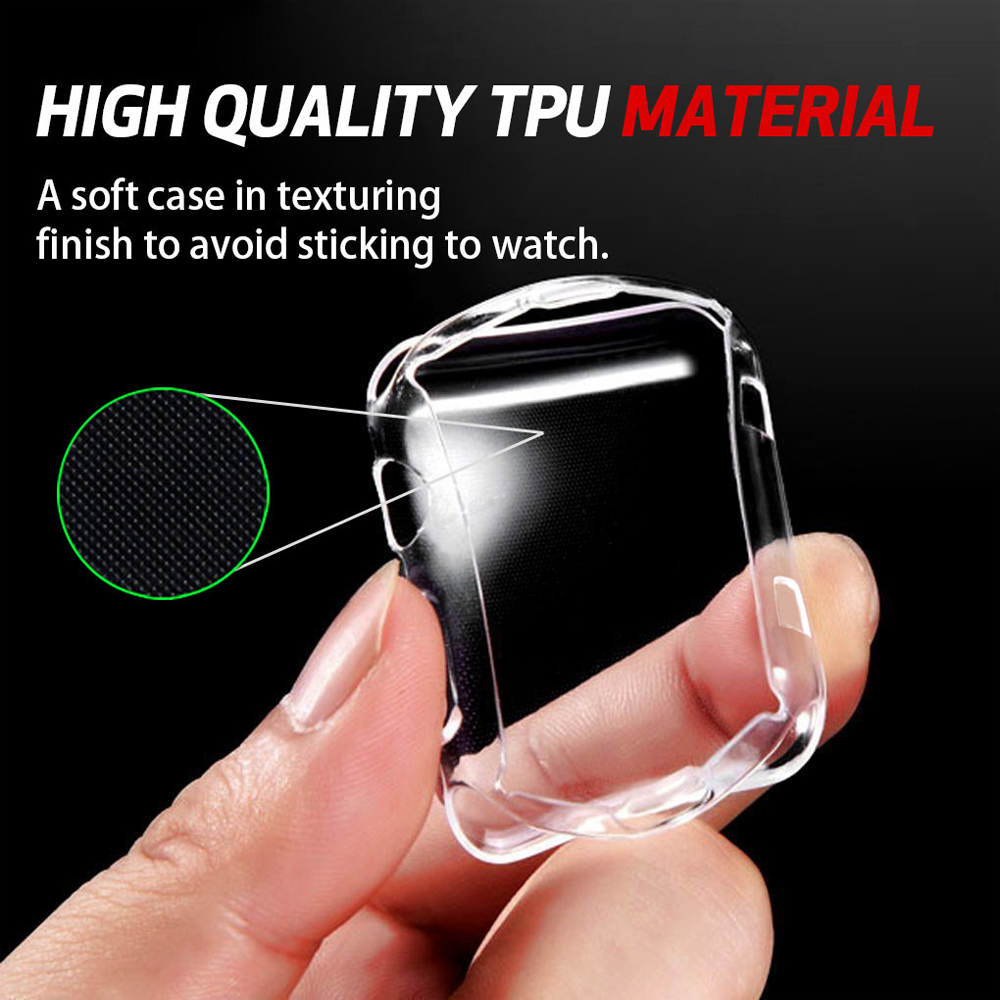 EIMO Silicone Soft Screen Protector cover for apple watch 42mm 38mm case Ultra-thin Clear shell for iwatch 3/2 Watch accessories series 1 2 3 soft silicone case for apple watch cover 38mm 42mm fashion plated tpu protective cover for iwatch