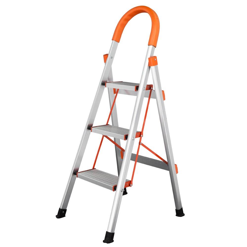 Escabeau de plate-forme pliable en aluminium antidérapant en 3 étapes, capacité de charge de 330 lb, échelles pliables légères, outil de maison Orange