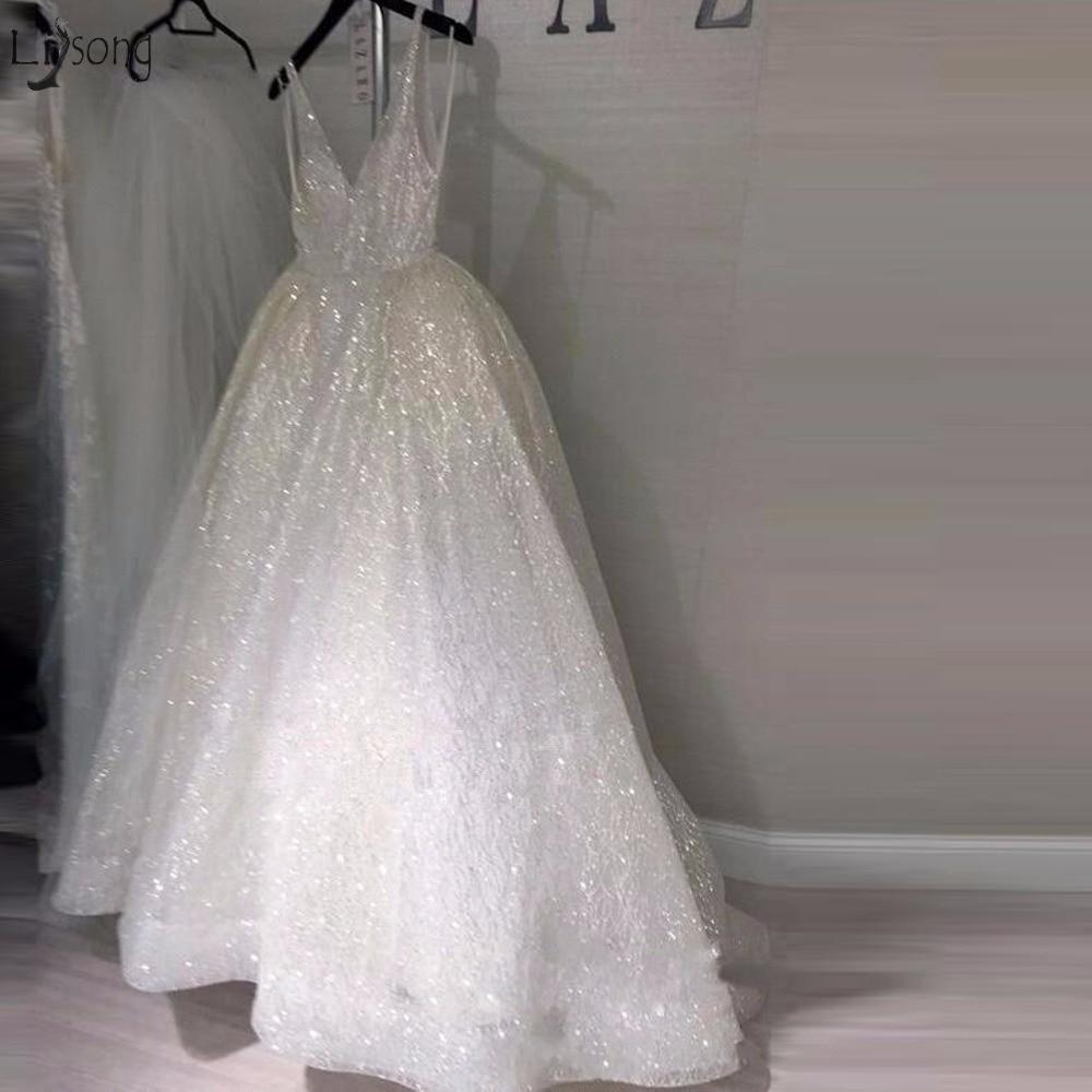 Sparkle White Sequined Wedding Dresses 2018 Sexy Deep V-neck Backless Bridal Gowns Plus Size  Vestido De Noiva Saudi Arabic
