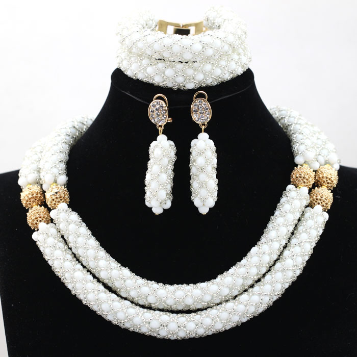Fashion Clear White African Nigerian Beaded Jewelry Set Jewelry Accessories for Arabic Wedding Free shipping HX803Fashion Clear White African Nigerian Beaded Jewelry Set Jewelry Accessories for Arabic Wedding Free shipping HX803