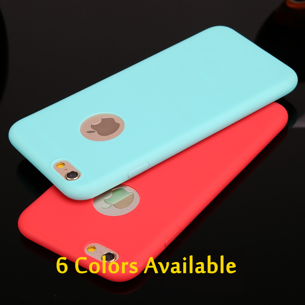 Esamday Candy color case for iphone6 6S 6Plus 6sPlus 7 7Plus 5 5s SE 7Soft TPU Silicon phone cases Coque with logo window