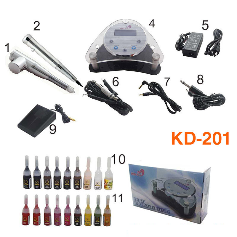 Complete Tattoo Kits With 2 Digital Tattoo Ink Professional Permanent Eyebrow Lip Makeup Tattoo Pen Machine Kit  KD-201 35000r import permanent makeup machine best tattoo makeup eyebrow lips machine pen