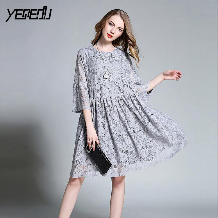 #2102 Hollow Out Lace Dresses Women Elegant Clothing Plus Size 4XL Loose High Waist Long Pleated Dresses Femme Grey/Black O neck