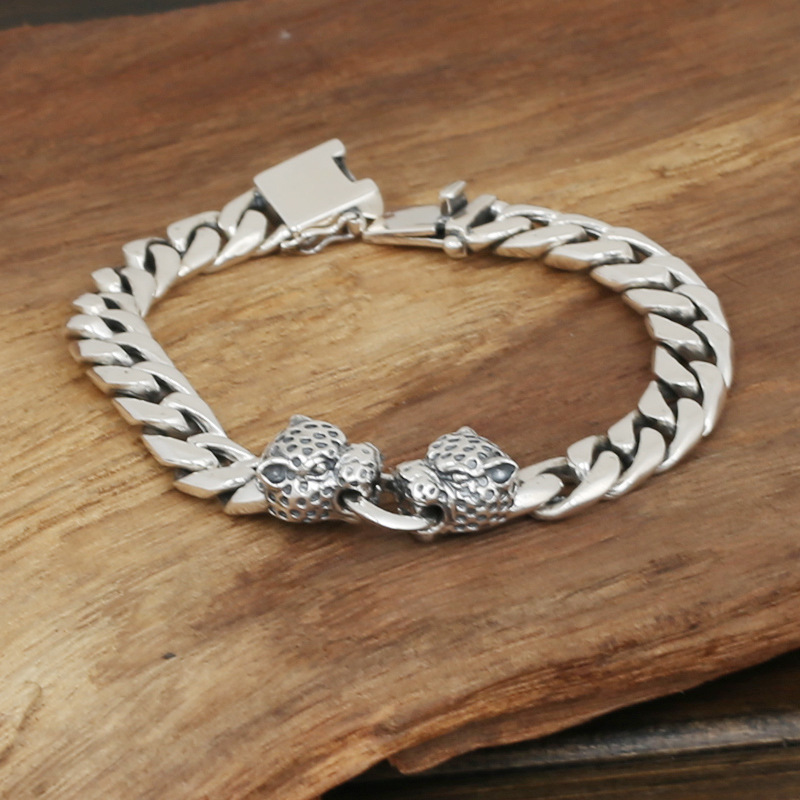 c579f55462a4d5 S925 men's fashion wholesale silver jewelry handmade Vintage Silver Bracelet  leopard head double personality-in ID Bracelets from Jewelry & Accessories