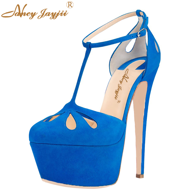 Summer Sexy T-Strap Blue Soft Suede Round Toe Ladies Pumps High Thin Heels Platform Shoes Women Party Evening Dress So Cute 4-16 faux suede platform buckle strap sexy thin high heel pumps fashion round toe party shoes women red black