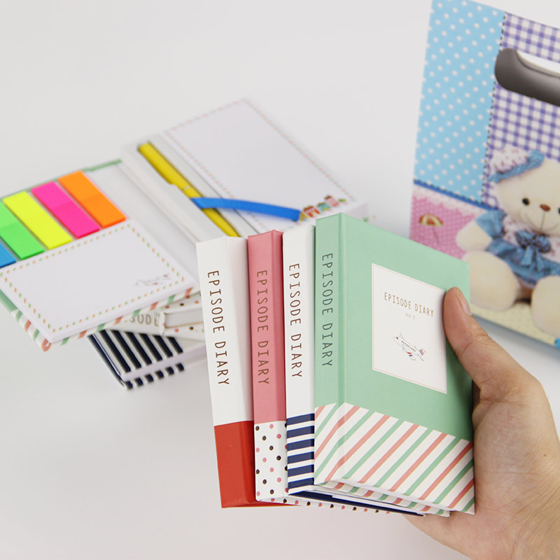 1 PC Creative Hardcover  Notepad Sticky Notes Kawaii Stationery Diary Notebook and Pen Office School Supplies 2