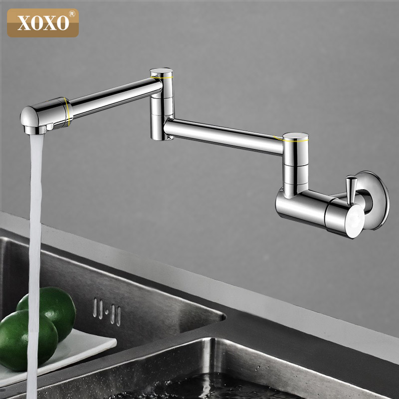 XOXO Kitchen Faucets 360 Degree Rotating Single Cold Wall Tap Basin Sink Wall Mounted Faucet Cold Faucet Single Cold Water Tap