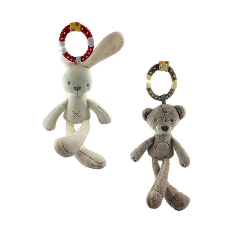 Cute Soft Baby Crib Stroller Plush Toy Rabbit Bear Soft Plush Infant Doll Mobile Bed Pram Kid Animal Hanging Ring 1pc