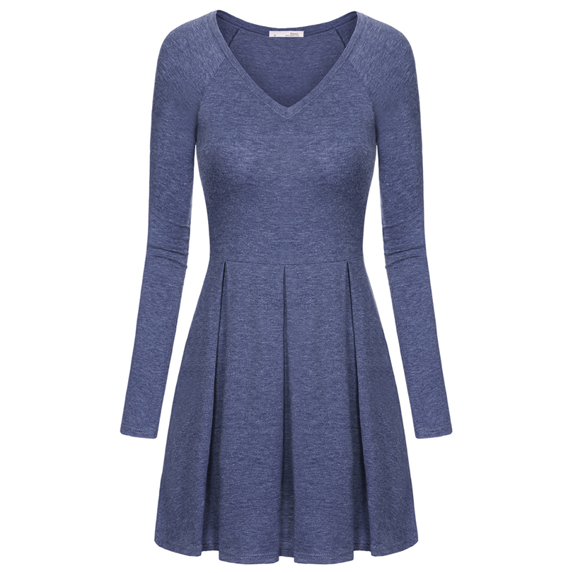 Womens Long Sleeve V Neck Knitted Dress Women Autumn 2018 Casual A Line Pleated Tunic Robe Femme High Waist Party Dresses round neck ladies sweater dresses cotton knitted 2018 summer womens mini dresses long sleeve party dress robe longue femme q1