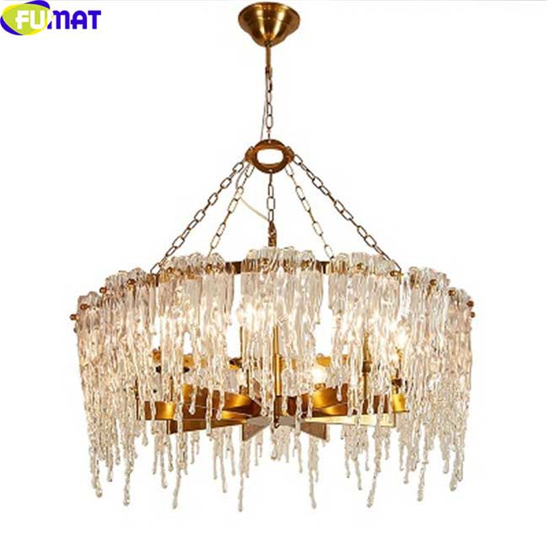FUMAT LED Chandelier Ceiling Lighting Fixture Icicle Glass Modern Pendant Lamp Design Suspension lustre luminaria Hanglamp Light