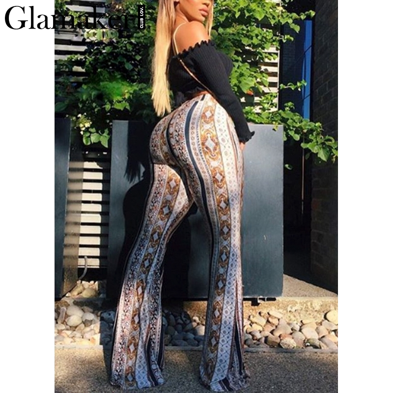Glamaker Printed bodycon flare pants Women spring high waist casual pants sexy trousers Female streetwear pants elegant bottoms
