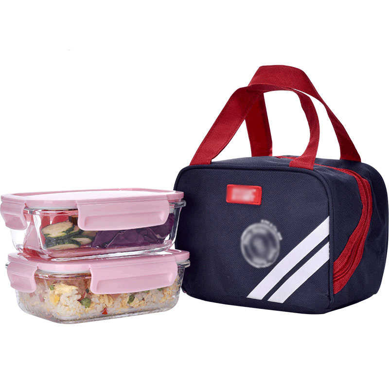 2 pcs Lunch Box With Bag Set Microwave Heating Glass Food Container Japanese School Student Kids Office Bento Box Picnic Camping