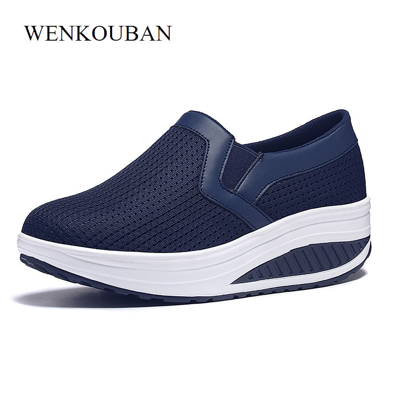 Size 35-43 Summer Platform Shoes Women Wedge Sneakers Mesh Shoes Slip On Creepers Ladies Casual Shoes Basket Femme Zapatos Mujer fashion women flats summer leather creepers platform sneakers causal shoes solid basket femme white black