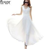 S ~ 5xl mujeres dress sexy cuello en v elegante blanco largo maxi dress vestidos de fiesta de gasa de cintura alta boho robe femme vestido de fiesta