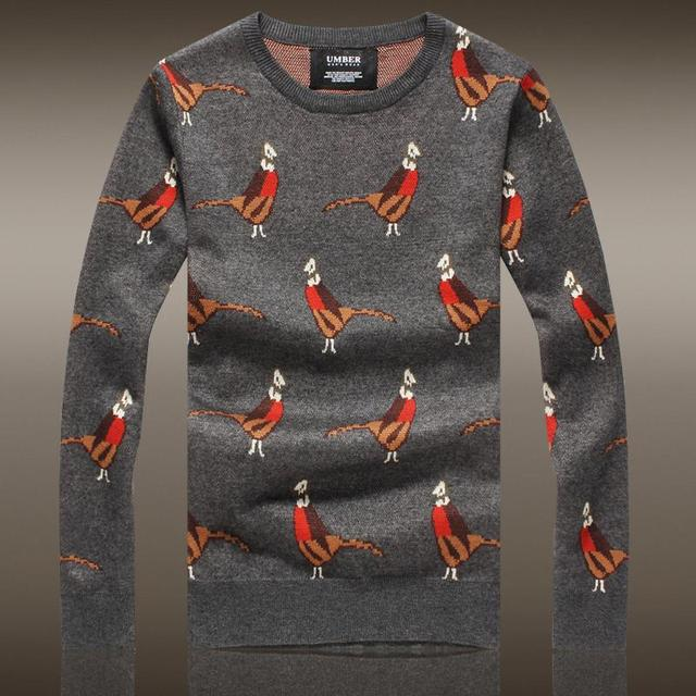 Sweater Men Promotion Top Acrylic Men's 2016 Autumn And Winter Sweater Minimalist Slim Round Neck Knit Bird Pattern Pullover