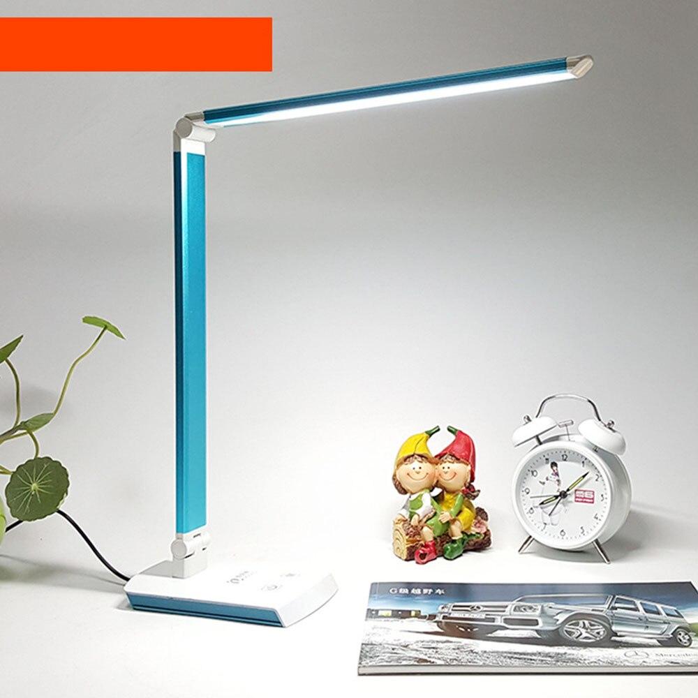 Study lamp led metal table lamp 10-15w white DC interface rechargeable desktop led light 220v luminaria mesa creative 1w 68lm 4000k 24 led neutral white light table lamp w storage function white ac 220v