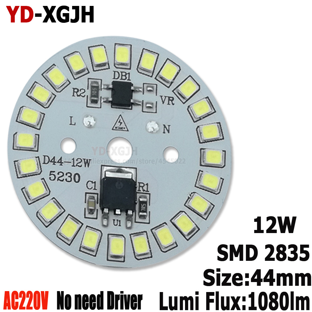 20PCS AC 220V SMD Dimmable Led Pcb Plate 3W 5W 9W Integrated Ic Driver Led Heatsink Installed SMD2835 For 12W Led Bulb Downlight