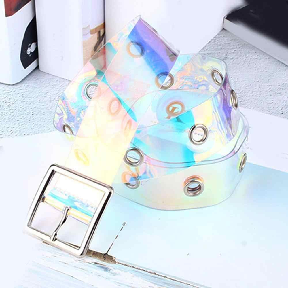جديد الليزر النساء حزام المجسم واضح حزام خصر دبوس معدني مشبك أحزمة وسط شفافة للنساء حزام زنار 90 سنتيمتر-120 سنتيمتر