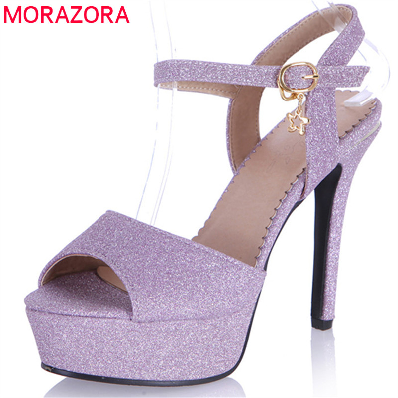 MORAZORA 2018 hot sale women sandals summer elegant peep toe party wedding shoes simple buckle sexy thin high heel shoes woman morazora 2018 new style women pumps simple shallow summer shoes elegant peep toe pink party wedding shoes 12cm high heel shoes