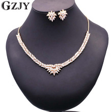 GZJY Luxury Bridal Gold Color Zircon Necklace Earring Jewelry Set For Women Wedding Party Accessories Jewelry