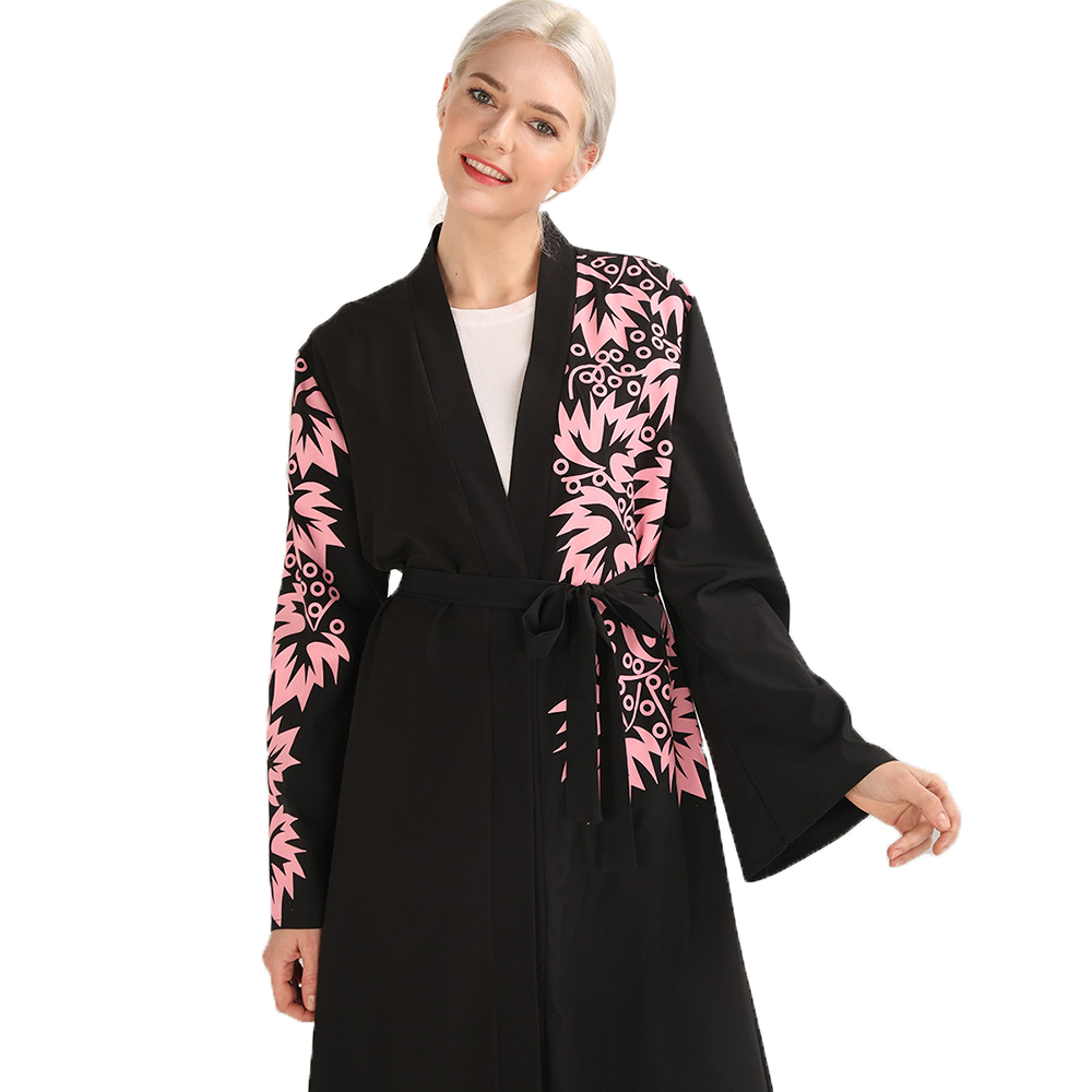 Muslim Women Floral Cardigan Abaya Arab Black Long Kaftan Dresses with Sashes in Islamic Clothing from Novelty Special Use
