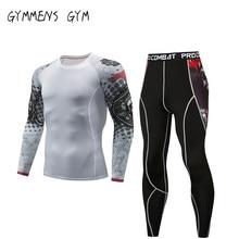 Men Tights Set Compression Tracksuit Fitness Running Tshirt Legging Sportswear Demix Black Gym Sport Suit