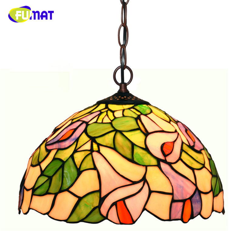 FUMAT Stained Glass Pendant Lamps European style Art Glass Lights For Living Room font b Kitchen