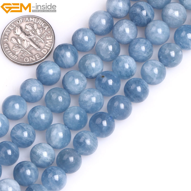 Gem-inside 6-12mm AA Grade Natural Stone Beads Round Blue Aquamarines Beads For Jewelry Making Beads 15 DIY Beads Jewelery