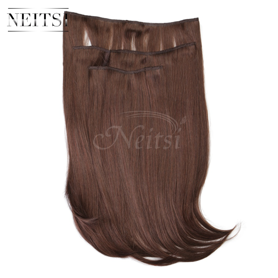 Купить с кэшбэком Neitsi 14'' 3Pcs/Set 75g Clip in on Synthetic Hair Extensions Straight Hairpieces Red Brown 565#