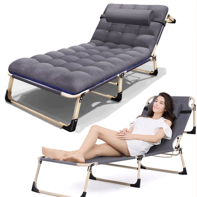 Office Nap Bed Lounge Chair Chaise Adjule Reclining Positions Folding Cot With Removable Pillow For